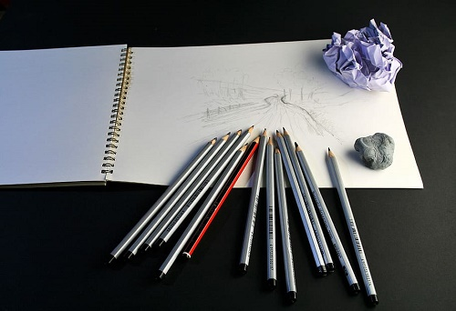 Composition of eraser and pencil